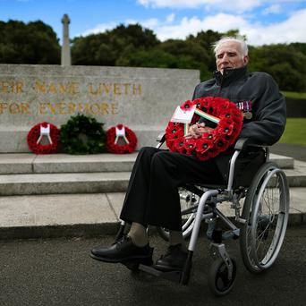 World War Two veteran and pardoned Irish soldier 92 year-old Phillip Farrington at the Irish National War Memorial at Islandbridge, Dublin