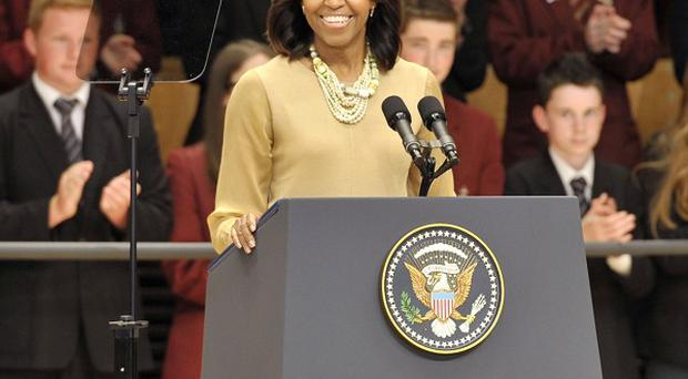 Michelle Obama addressed young people in Belfast before travelling on to Dublin