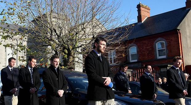 Members of the Garryowen rugby club formed a guard of honour at the funeral of Shane Geoghegan