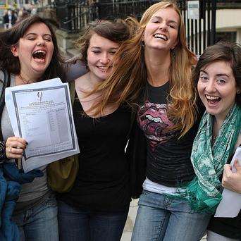 Youngsters receive their Leaving Certificate results at Loreto School in St Stephen's Green, Dublin