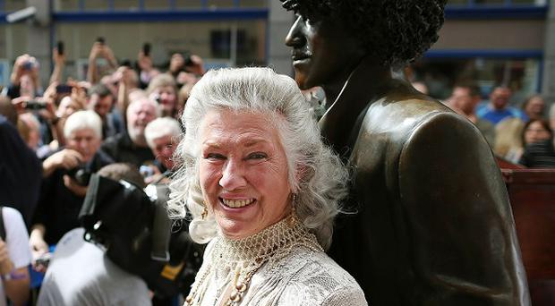 The mother of Phil Lynott at the unveiling of the repaired statue of the Thin Lizzy frontman