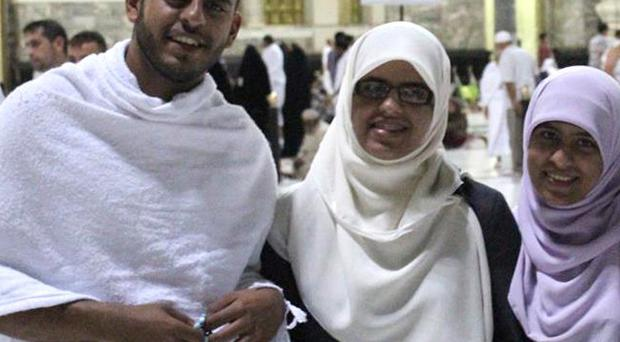 Ibrihim Halawa with sisters Fatima, Omaima and Somaia who were among hundreds of people forced to leave the Al Fateh mosque in Cairo