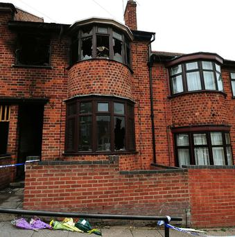 The scene of the fatal house fire in Wood Hill, Leicester, in which four family members died