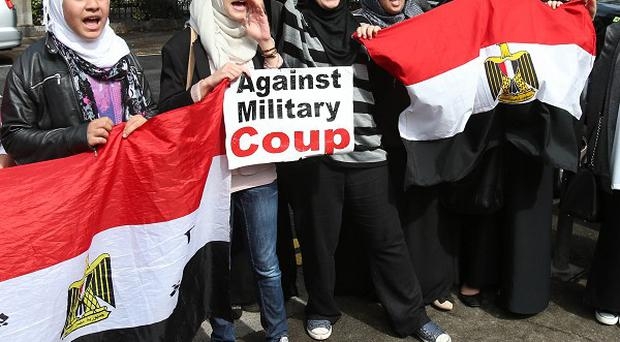 Friends of the Halawa family at a demonstration outside the Egyptian Embassy in Dublin.
