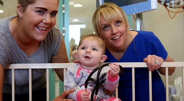 Nevaeh Fox, who is due for heart surgery, at the opening of a new Children's Heart Centre in Our Lady's Children's Hospital in Crumlin