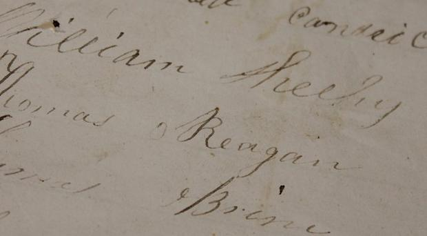The signature of Thomas Reagan, the great-great-grandfather of Ronald Reagon, on the Morpeth roll (PA/Ancestory.com)