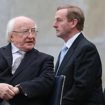 President Michael D Higgins and Taoiseach Enda Kenny take part in a ceremony to mark the centenary of the founding of the Irish Volunteers