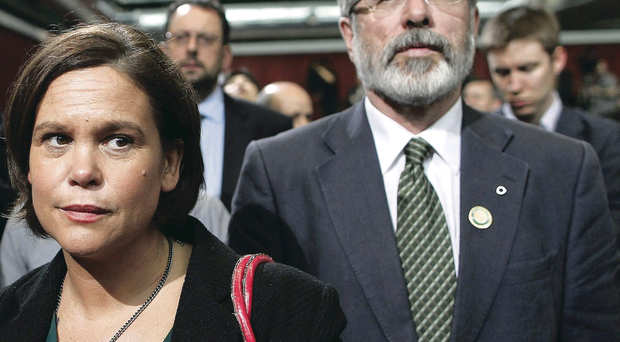 Leader in waiting? Mary Lou McDonald and current Sinn Fein president Gerry Adams
