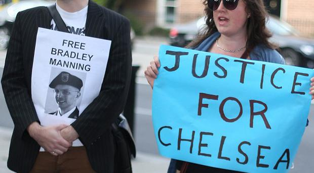 Protesters demonstrate outside the US Embassy, Dublin, in September, the day after Chelsea Manning was sentenced to 35 years in prison