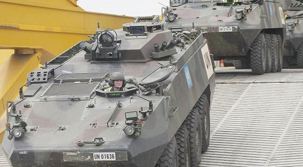 A Mowag Armoured Personnel Carrier carrying Irish troops was fired on by Syrian rebels.