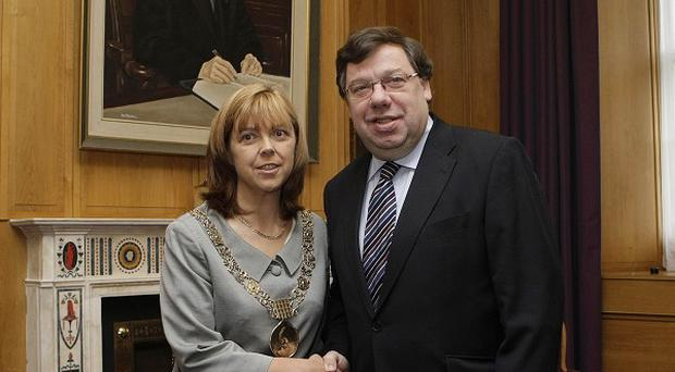Emer Costello, pictured with former taoiseach Brian Cowen, has been MEP for Dublin for two years