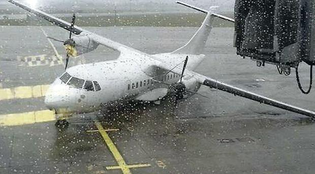 A plane blown over at Shannon Airport
