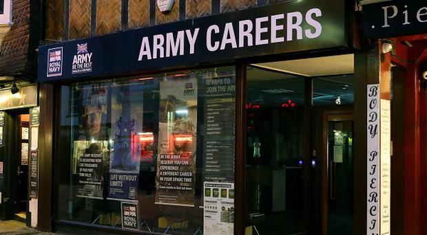 The British Army Careers office in Canterbury, Kent, one of the armed forces recruitment offices in England where suspected explosive devices were found