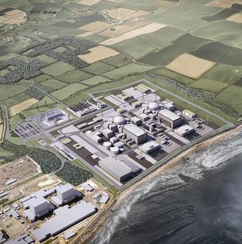A computer-generated image of the planned Hinkley Point C nuclear plant