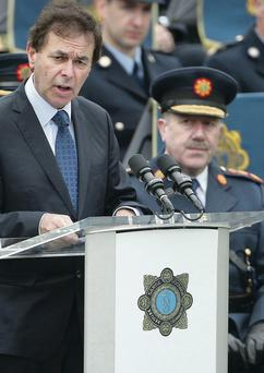 Justice Minister Alan Shatter speaks at a memorial service for gardai killed in the line of duty at Dublin Castle last May