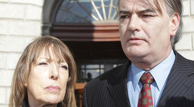 Ian Bailey and his partner Jules Thomas after an earlier hearing at the Supreme Court in Dublin