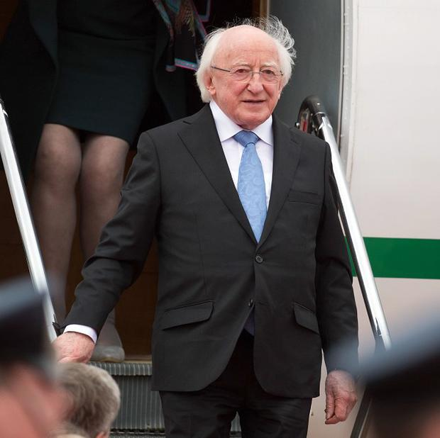 President Michael D Higgins arrives in London for a state visit