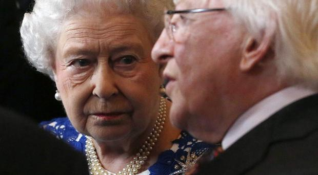 Queen Elizabeth and Michael D Higgins attend a Northern Ireland-themed reception at Windsor Castle, during the first State visit to the UK by an Irish president.