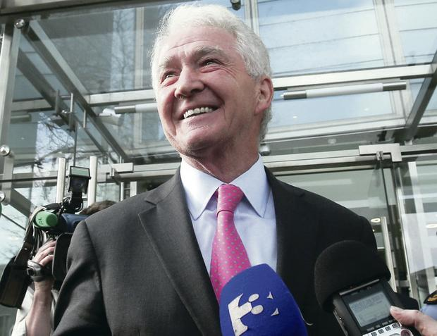 The former chairman of Anglo Irish Bank, Sean FitzPatrick, speaking to the media outside the Central Criminal Court in Dublin after being found not guilty of all charges in relation to the bank's collapse