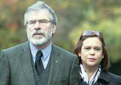 Gerry Adams with Sinn Fein's vice-president Mary Lou McDonald