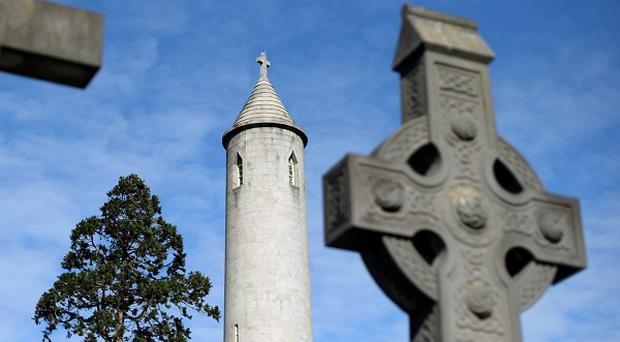 The round tower which marks the grave of Daniel O'Connell in Glasnevin cemetery, Dublin.