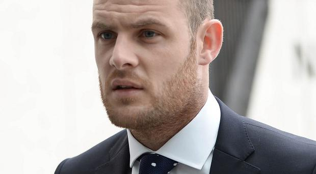 The Republic of Ireland and Celtic footballer Anthony Stokes arrives at court ahead of the case over an alleged assault on an Elvis impersonator