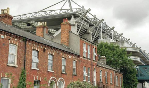 Croke Park towering over houses in north Dublin