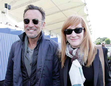 Bruce Springsteen and wife Patti Scialfa among the crowds at Dublin Horse Show to watch their daughter Jessica