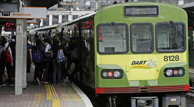 A woman died after falling in front of a Dart train
