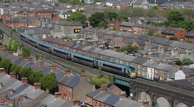 An Irish Rail train viewed from Croke Park which will be affected by the stoppage