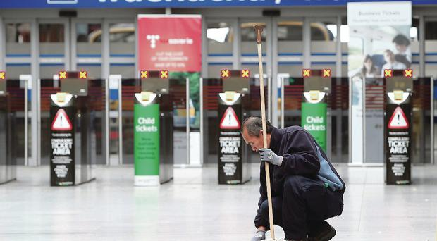 A cleaner at work in an empty Connolly Train Station in Dublin