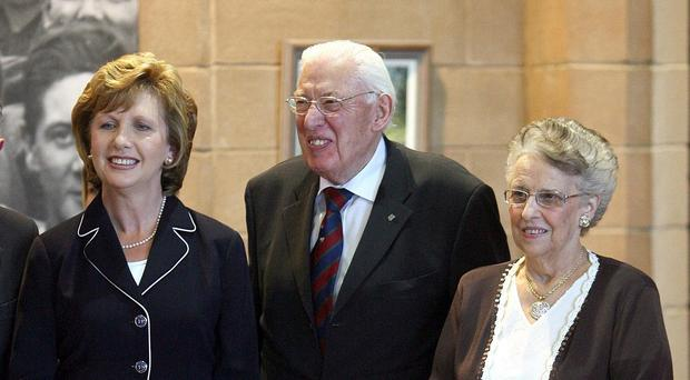 Ian Paisley, with his wife Baroness Paisley, right, and then Irish Republic President Mary McAleese at a public event