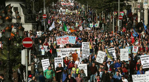 Thousands of people march on O'Connell Street in Dublin earlier in October during a demonstration against water charges