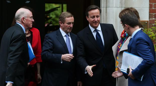 Taoiseach Enda Kenny and Prime Minister David Cameron at Stormont House, Belfast