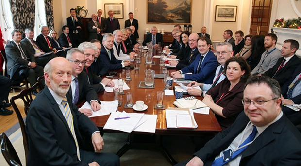 Politicians at Stormont as an agreement left the region facing a brighter and more prosperous future