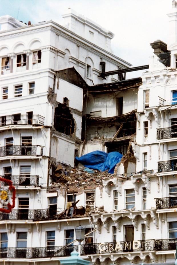 The Grand Hotel in Brighton in the aftermath of the IRA bombing in 1984