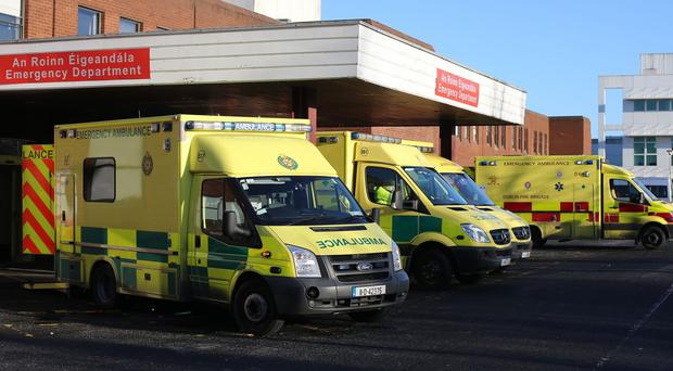 Ambulances outside Beaumont Hospital in Dublin as the overcrowding problems in Irish hospitals continue