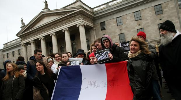 A solidarity rally was held in Dublin's city centre, in memory of the victims of terror attacks in Paris