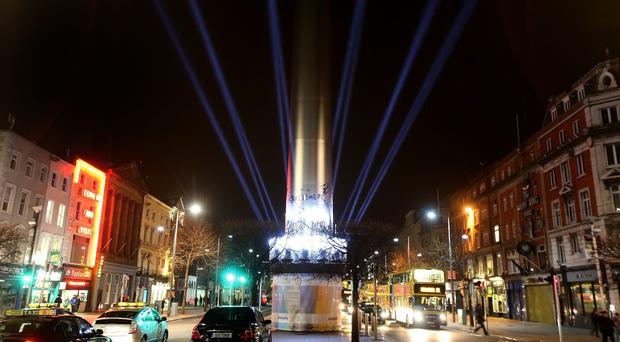 The illuminated Spire of Dublin on O'Connell Street will be lit for the duration of the St Patrick's Festival