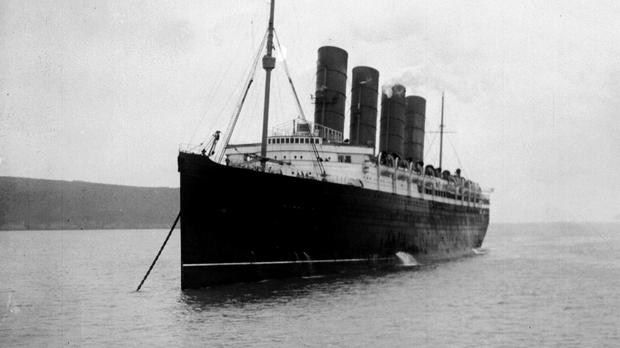 The Lusitania sank 18 minutes after the torpedo struck