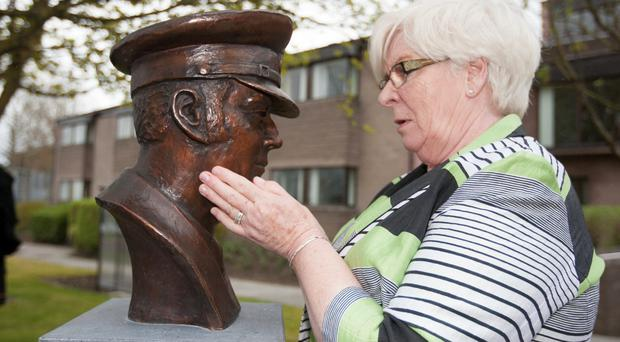 Prison officer Brian Stack's widow Sheila at the unveiling of a bronze bust of her murdered husband at the Republic's Prison Service College in Portlaoise in 2013