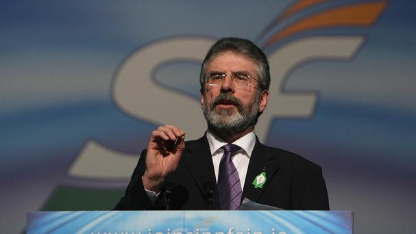 Sinn Fein leader Gerry Adams as Commerzbank AG told investors that Sinn Fein in power would be a risk to the Republic's