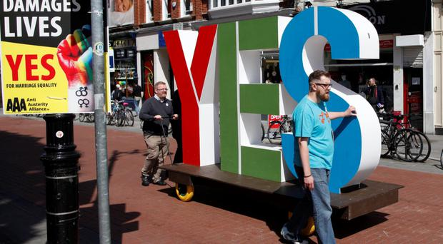 No and Yes campaigners in the Republic's same-sex marriage referendum making their case to voters in Dublin