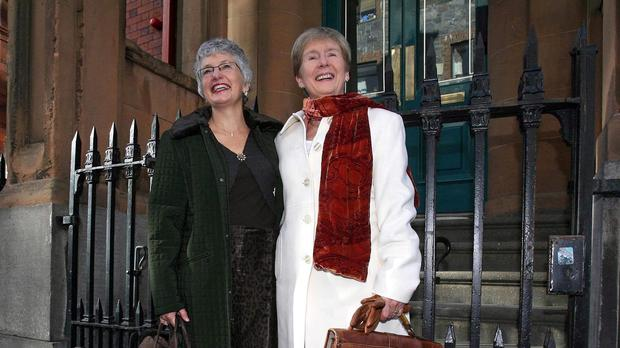 Katherine Zappone, left, and Ann Louise Gilligan pictured in 2006 outside Bow Street District Court in Dublin when they began efforts to have their Canadian-registered marriage recognised in Ireland