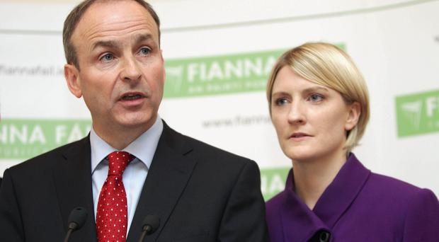 Fianna Fail leader Micheal Martin and Senator Averil Power, who has quit the party