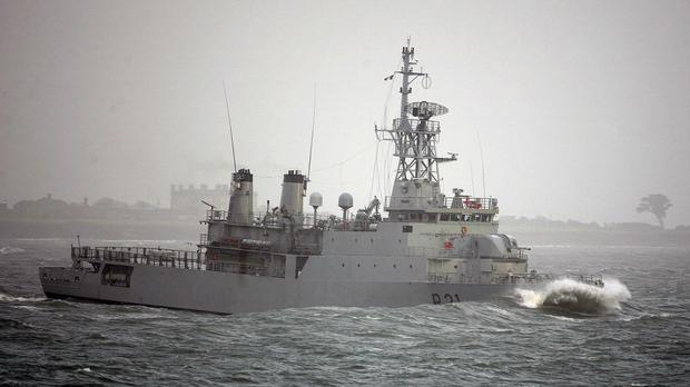 The Irish navy vessel LE Eithne is helping with the migrant crisis in the Mediterranean