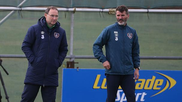 Republic of Ireland's Manager Martin O'Neill (left) with assistant Roy Keane as they have been involved in a car crash, according to reports.