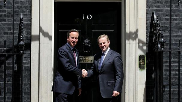 Taoiseach Enda Kenny is greeted by British prime minister David Cameron at 10 Downing Street in London