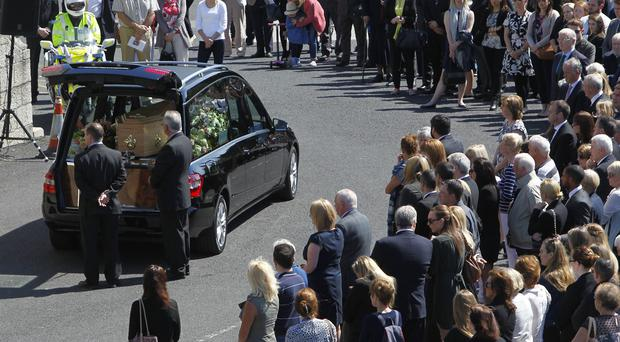 The coffin of Eimear Walsh arrives at Our Lady of Perpetual Succour in Foxrock.
