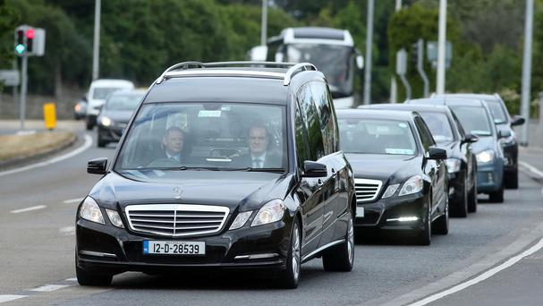 The coffin of Olivia Burke arrives at the Church of Our Lady of Perpetual Succour in Foxrock, Dublin